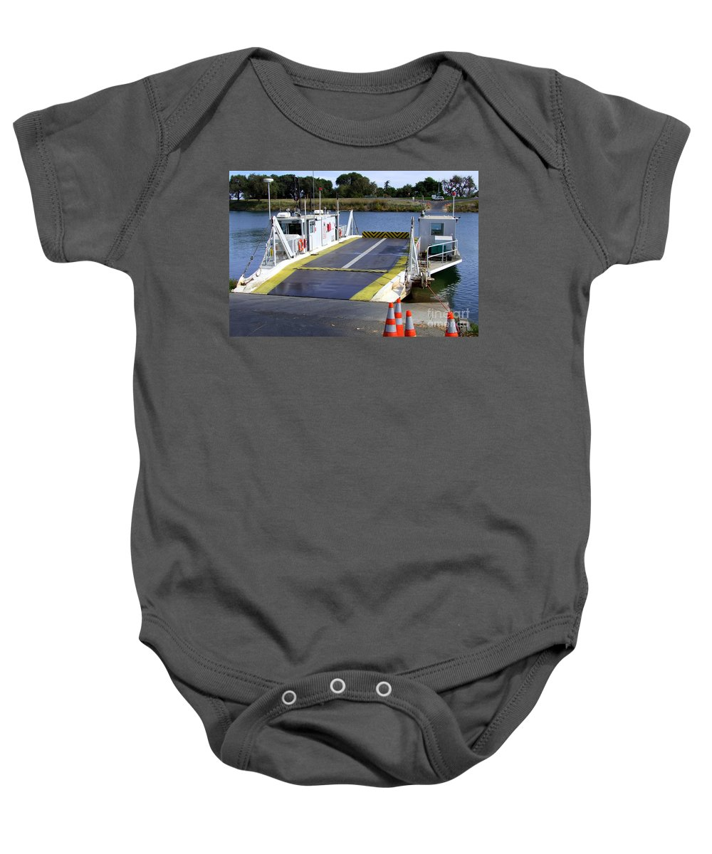 Mary Deal Baby Onesie featuring the photograph Ryer And Grand Island Ferry by Mary Deal