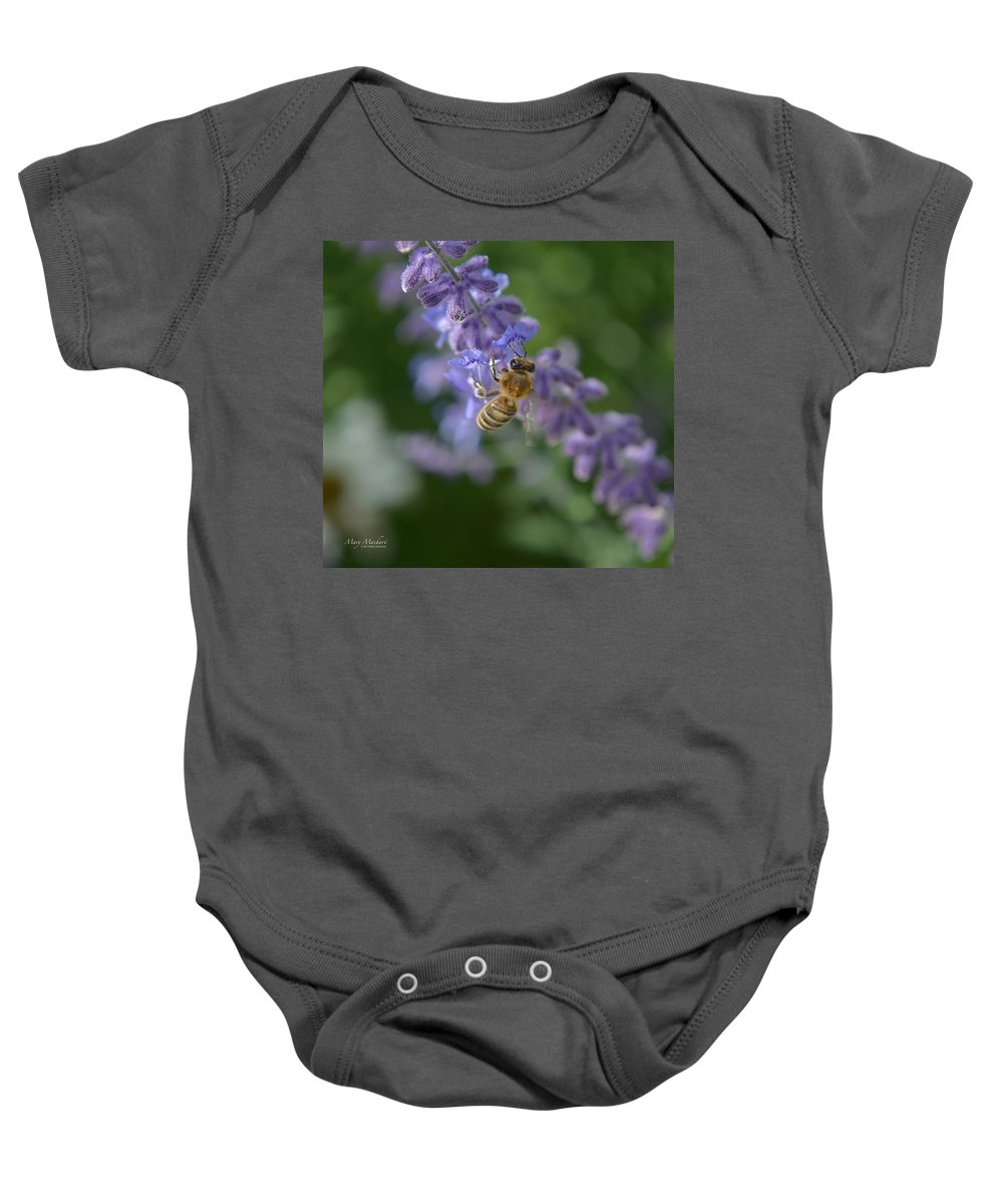 Sage Baby Onesie featuring the photograph Sage Bee by Mary Machare