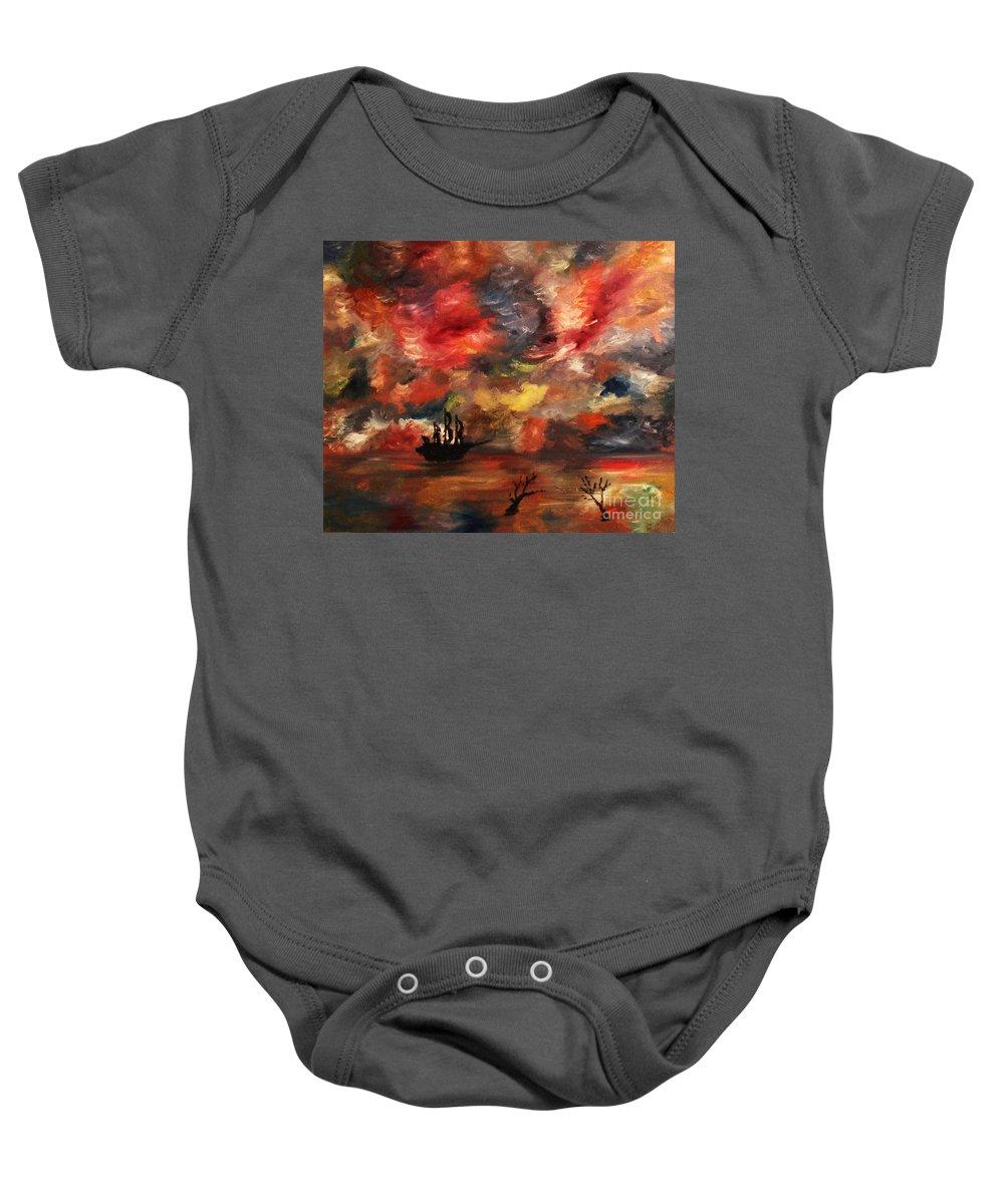 Sail Baby Onesie featuring the painting Sail Away by Alisa Bogodarova