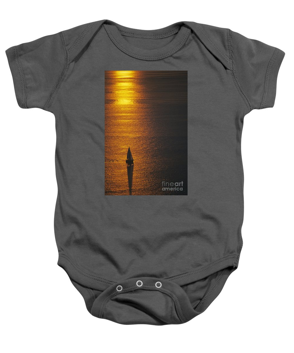 Travel Baby Onesie featuring the photograph Sail Boat On Puget Sound by Jim Corwin