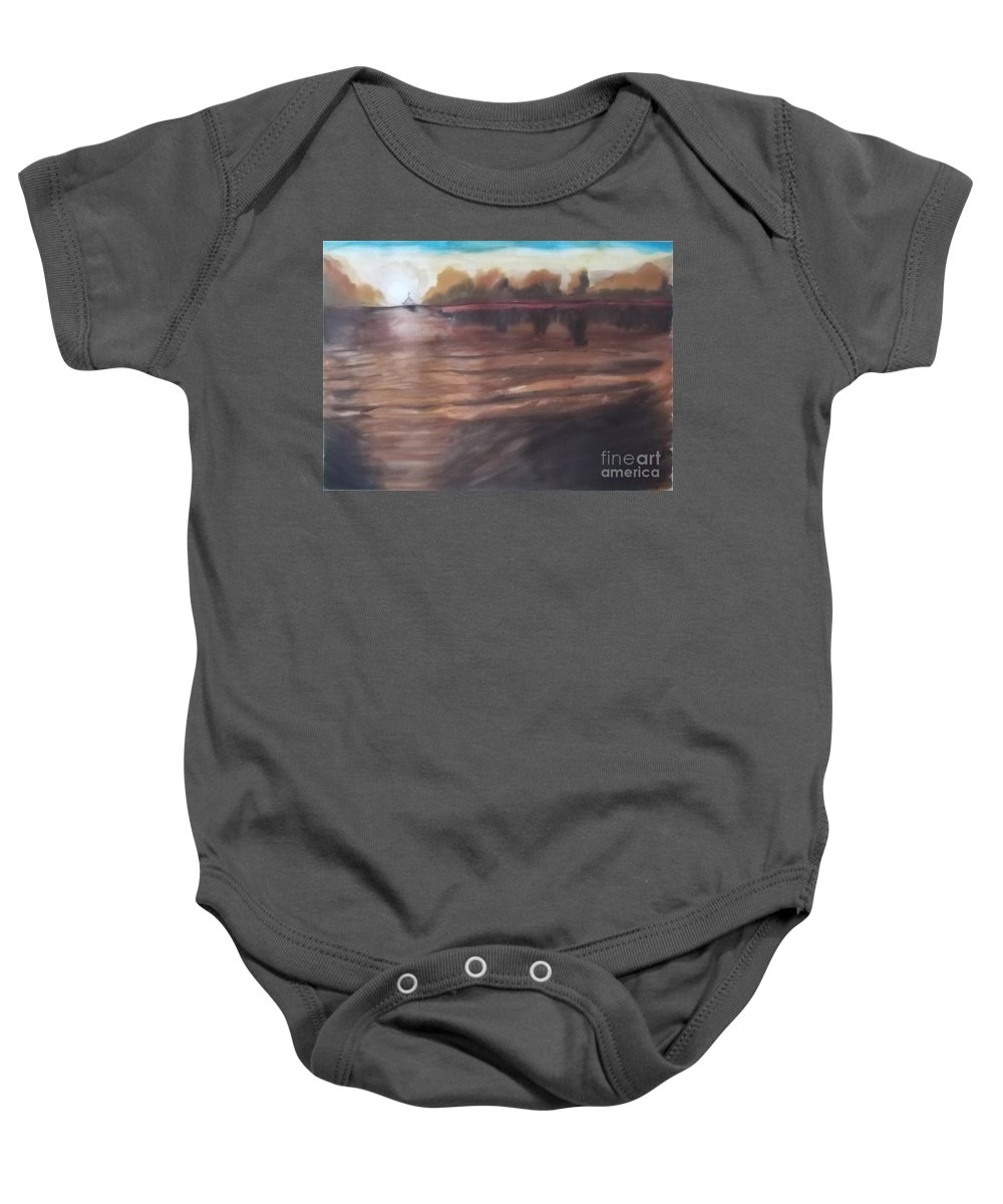 Abstract Baby Onesie featuring the painting Sailing In To The Sunset by John Williams