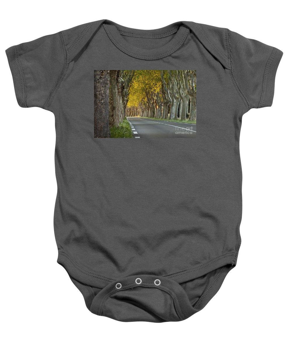 Tree Baby Onesie featuring the photograph Saint Remy Trees by Brian Jannsen