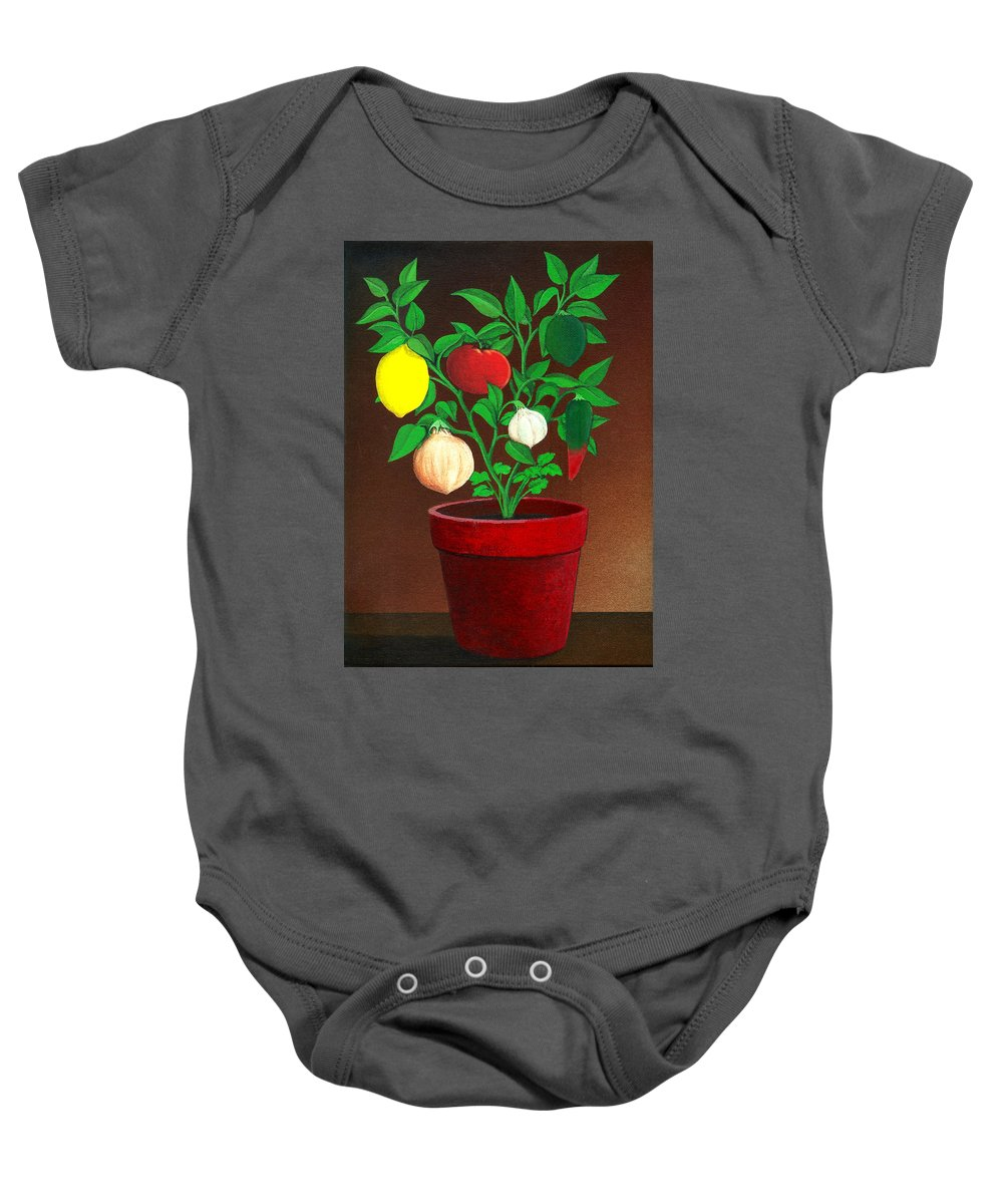 Plant Baby Onesie featuring the painting Salsa Plant by Snake Jagger