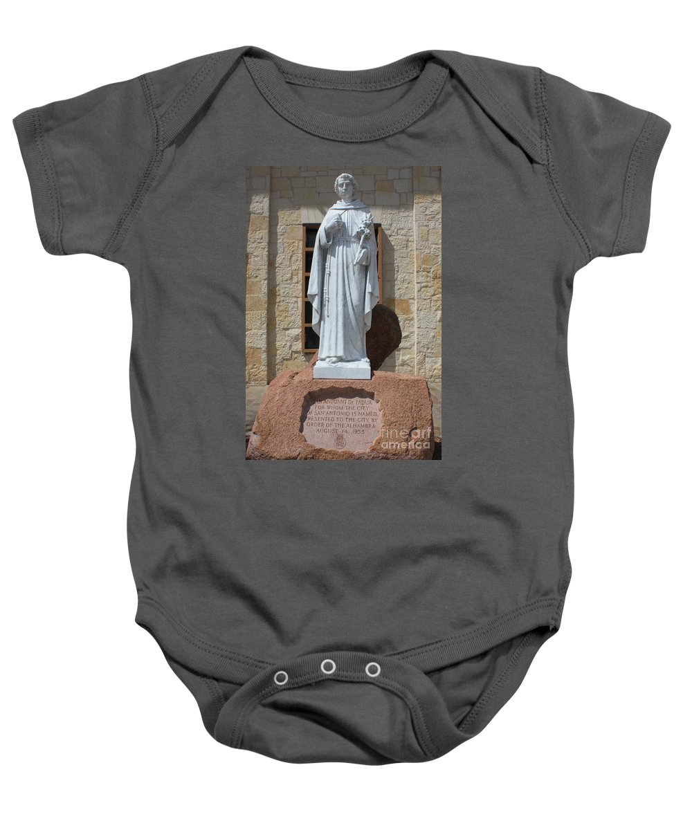 San Antonio Baby Onesie featuring the photograph San Antonio Statue by Carol Groenen