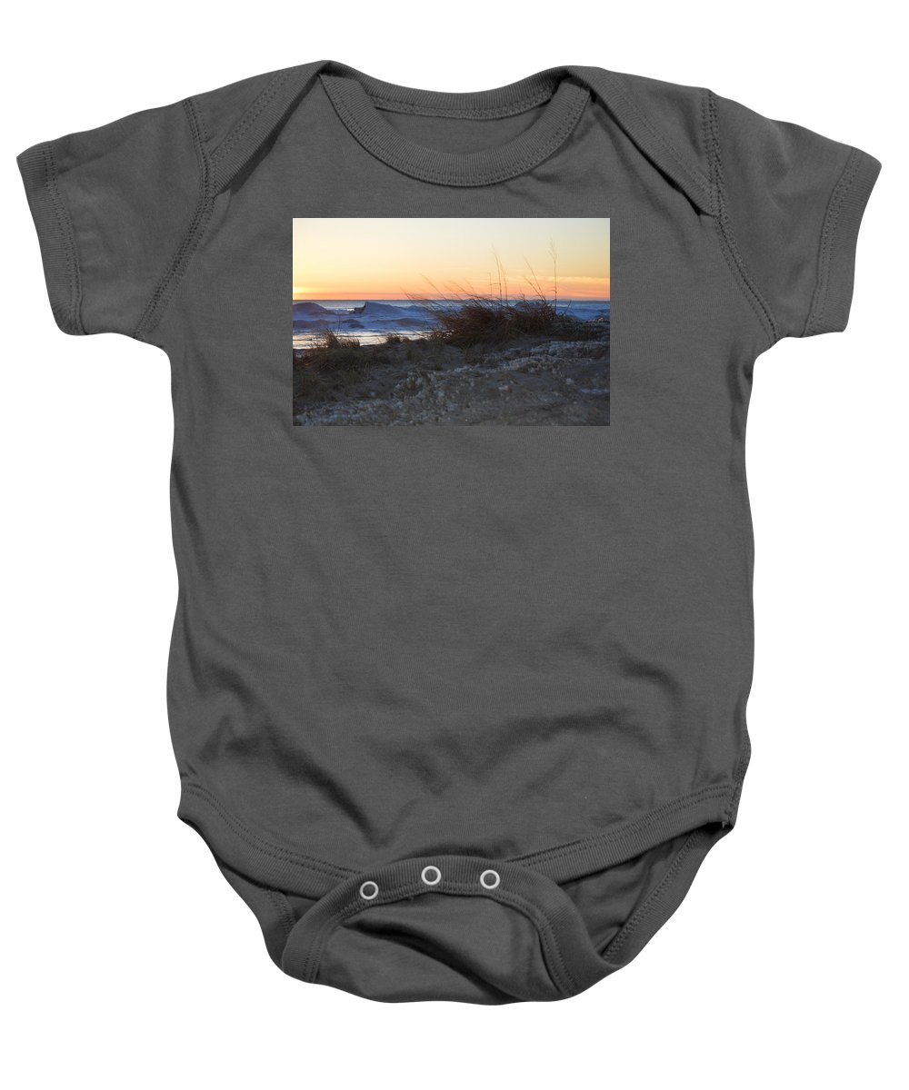 Lake Michigan Baby Onesie featuring the photograph Sand And Ice by Linda Kerkau