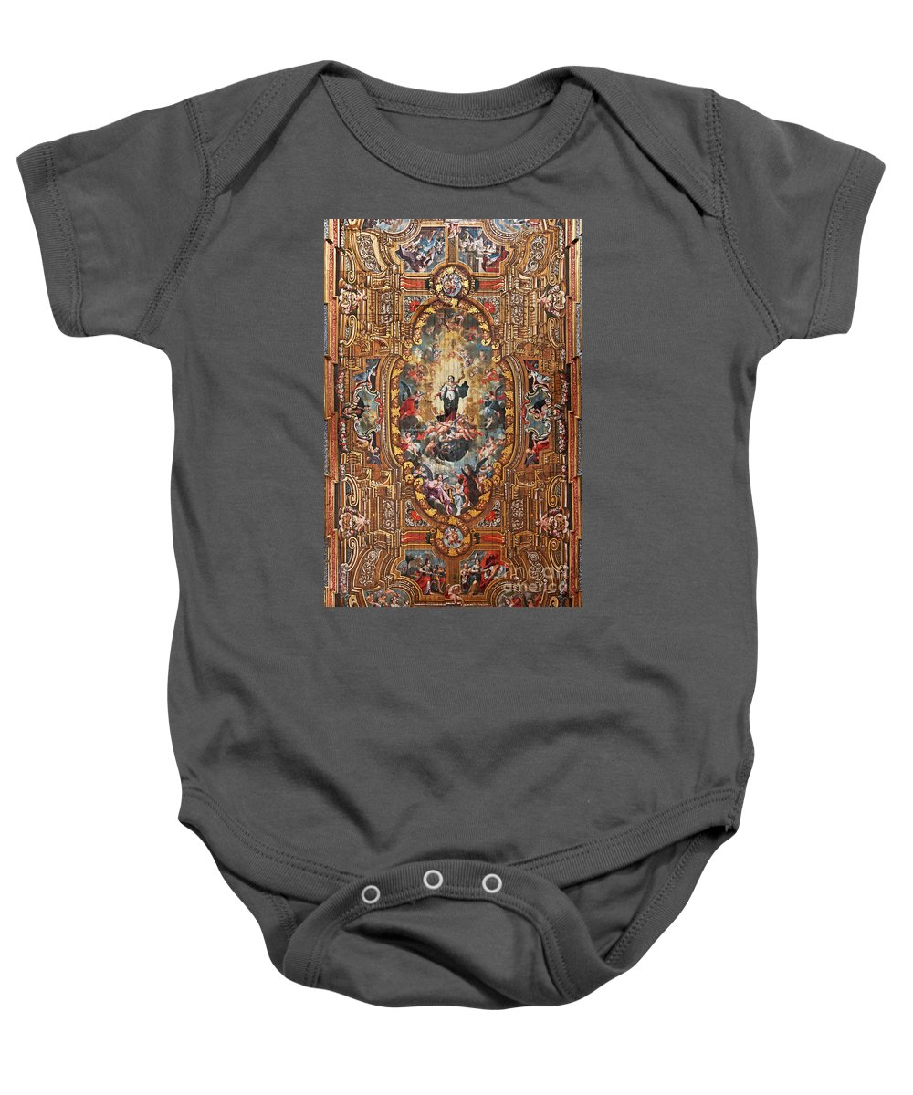 Painted Baby Onesie featuring the photograph Santarem Cathedral Painted Ceiling by Jose Elias - Sofia Pereira