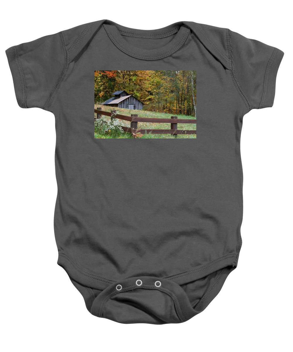 Rustic Barn With Cupola Baby Onesie featuring the photograph Sap Barn Or House by Jim Cotton