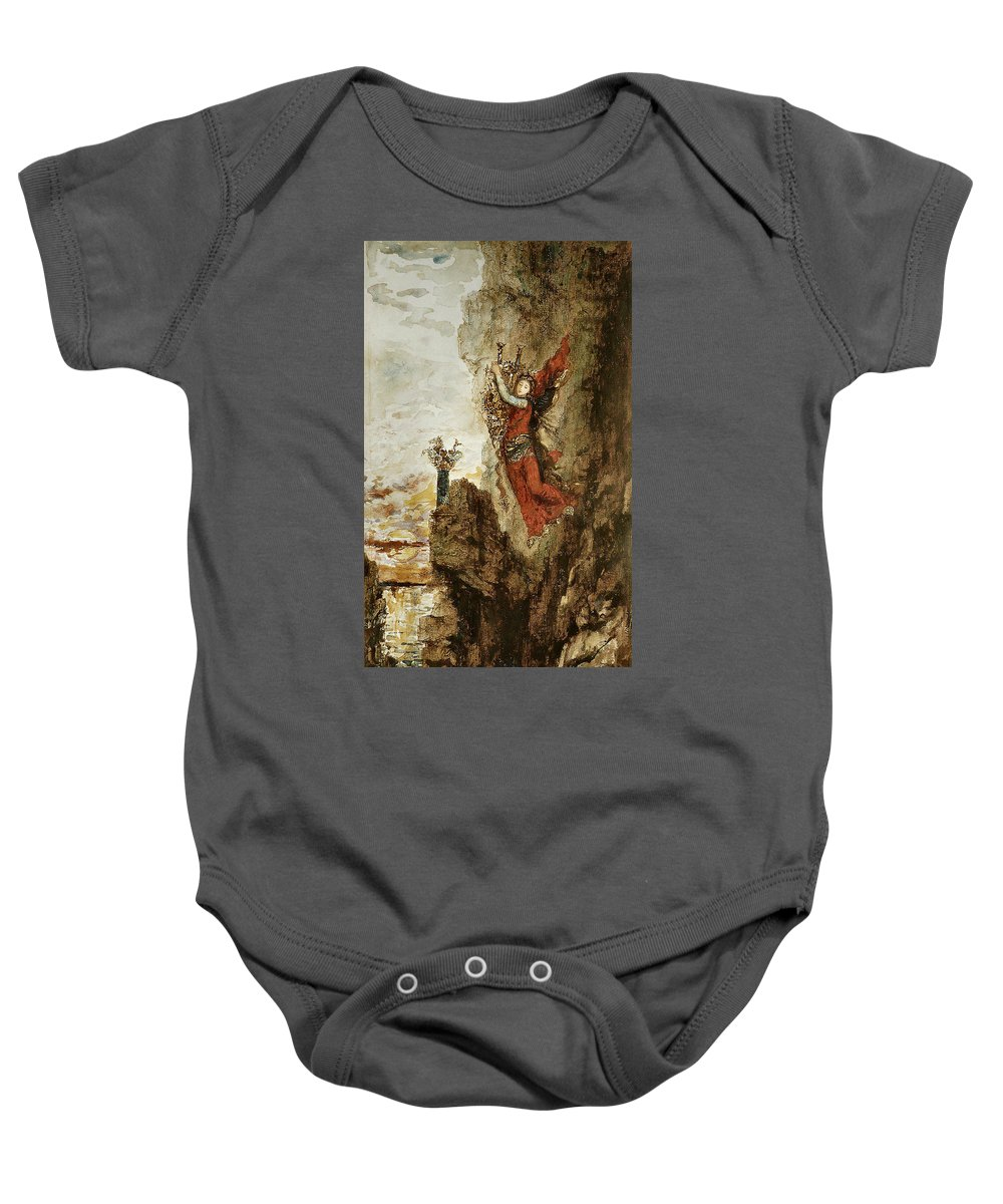Gustave Moreau Baby Onesie featuring the painting Sappho In Lefkada by Gustave Moreau