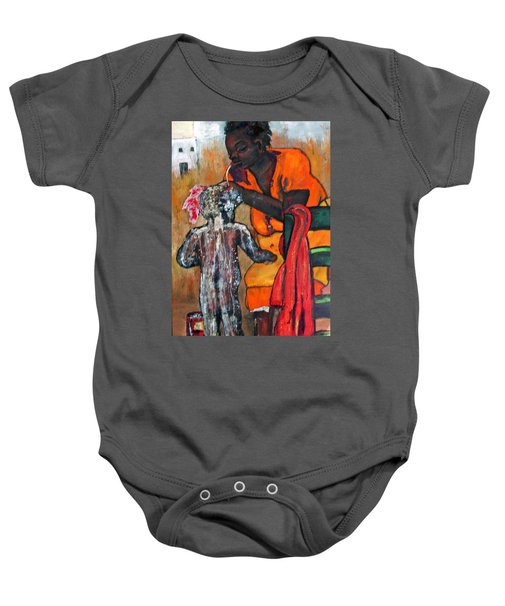 Mom Bathing Boy Baby Onesie featuring the painting Saturday Night Bath by Peggy Blood