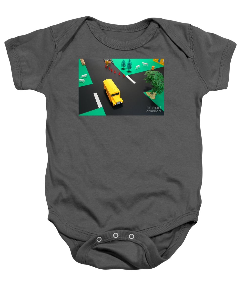 School Baby Onesie featuring the photograph School Bus School by Olivier Le Queinec