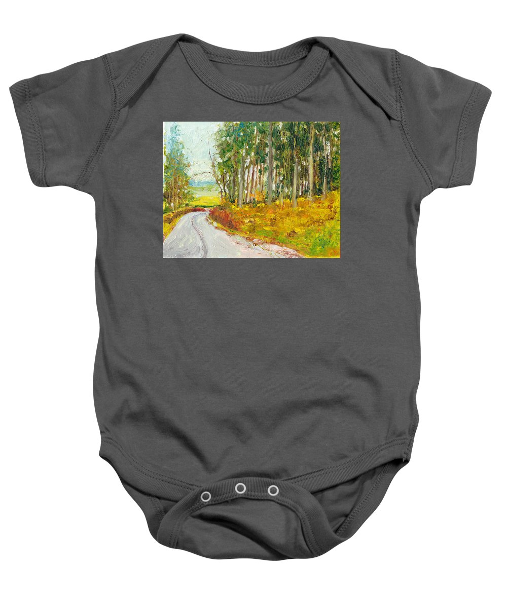 Landscape Baby Onesie featuring the painting Scottish Forest In Spring by Dai Wynn