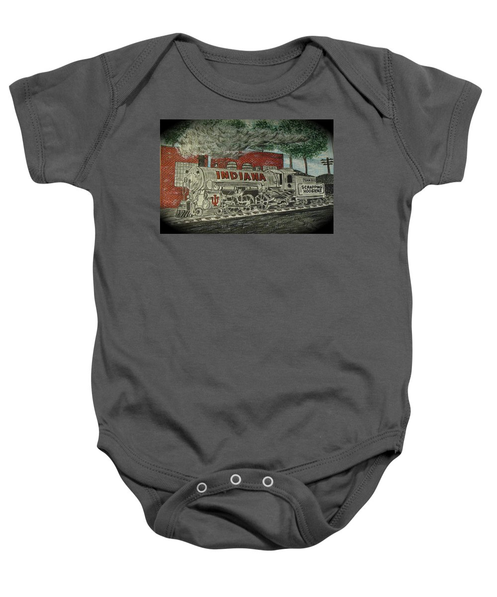 Scrapping Hoosiers Baby Onesie featuring the painting Scrapping Hoosiers Indiana Monon Train by Kathy Marrs Chandler