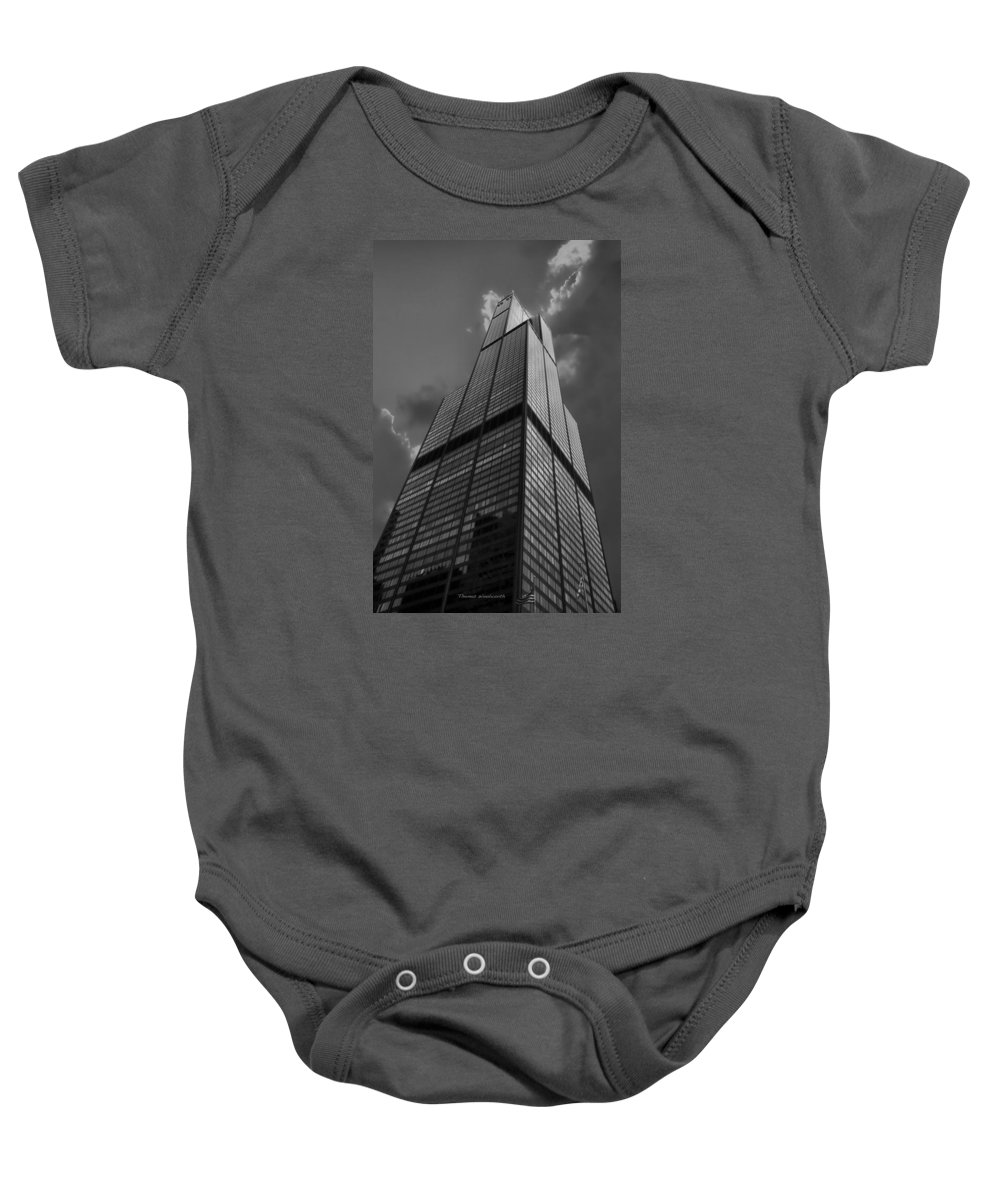 Sears Tower Baby Onesie featuring the photograph Sears Willis Tower Black And White 01 by Thomas Woolworth