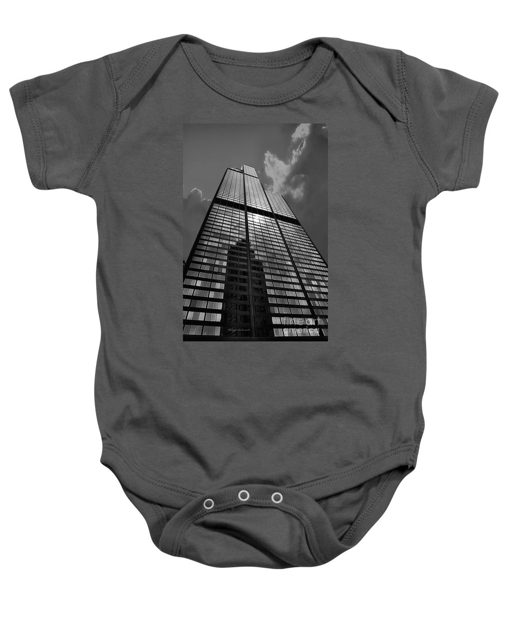 Cities Baby Onesie featuring the photograph Sears Willis Tower Black And White 02 by Thomas Woolworth