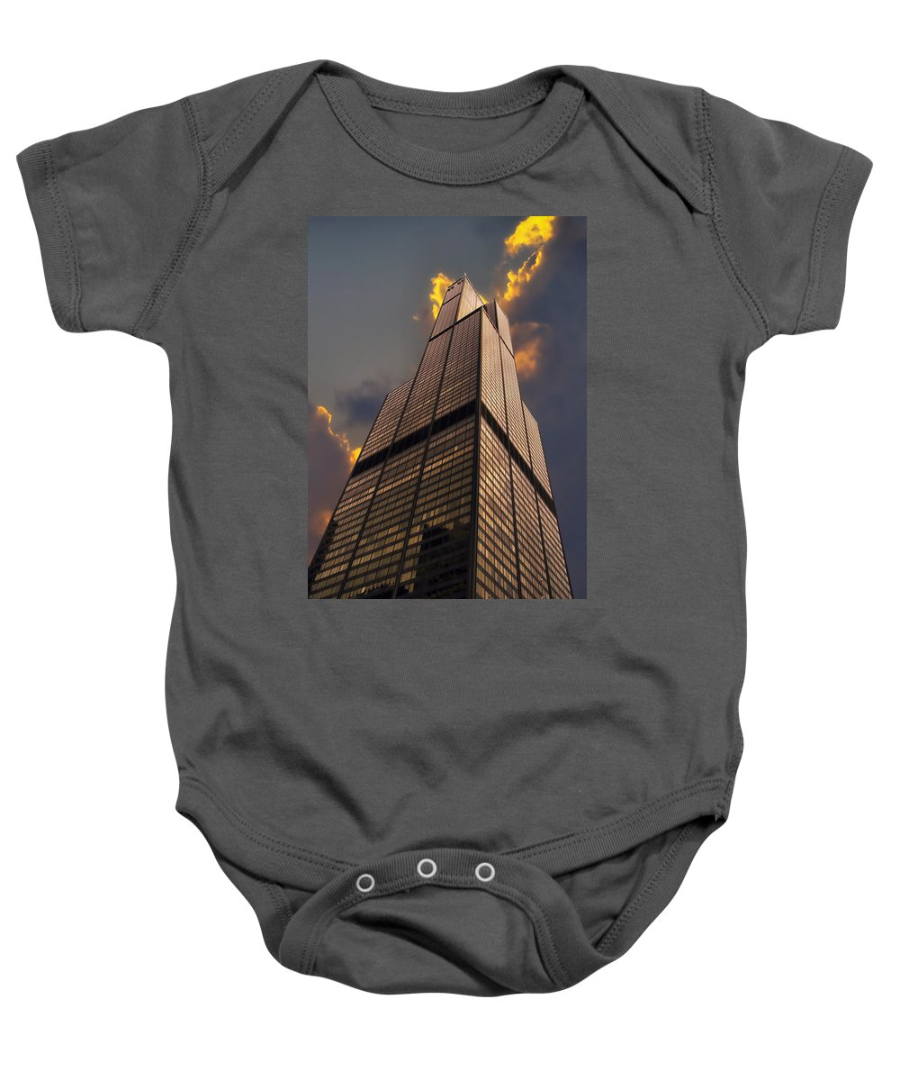 Cities Baby Onesie featuring the photograph Sears Willis Tower by Thomas Woolworth