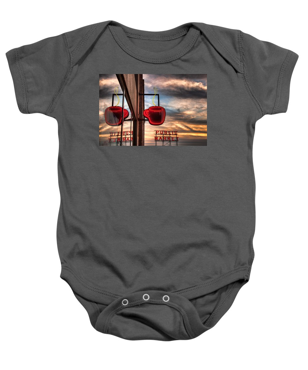 Seattle Baby Onesie featuring the photograph Seattle Coffee by Ian Good