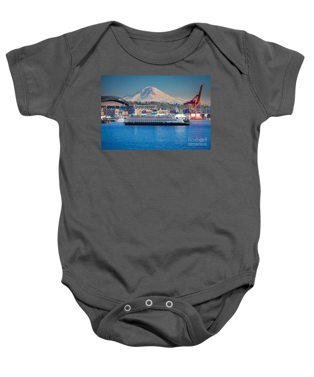 Seattle Baby Onesie featuring the photograph Seattle Harbor by Inge Johnsson