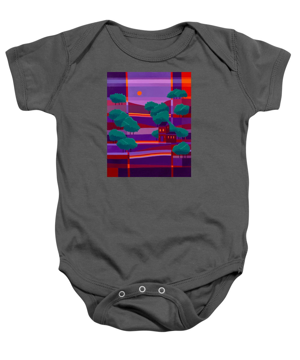 Secluded Villa Baby Onesie featuring the painting Secluded Villa by Michael Jernegan