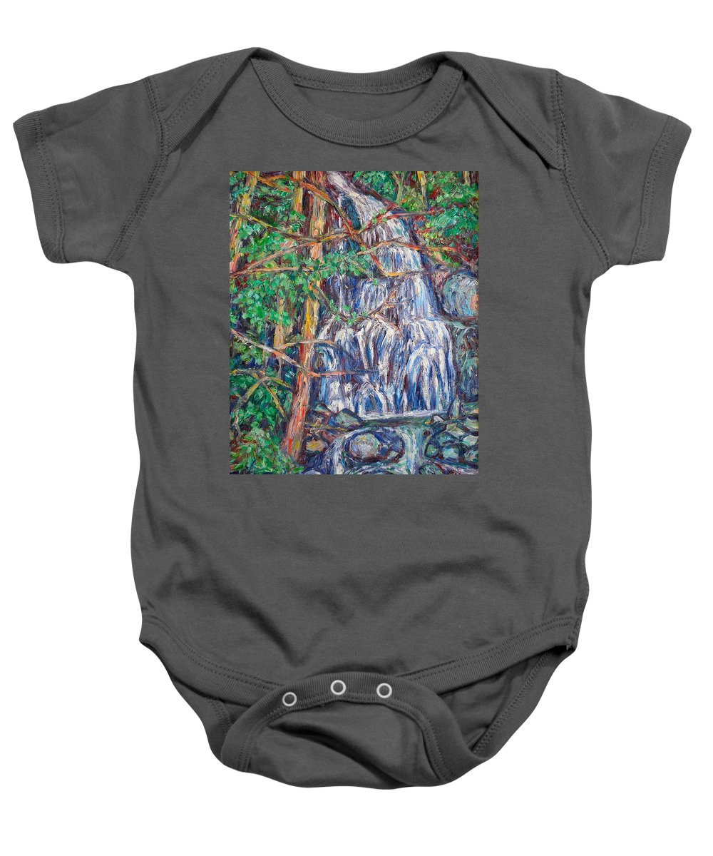 Waterfall Baby Onesie featuring the painting Secluded Waterfall by Kendall Kessler
