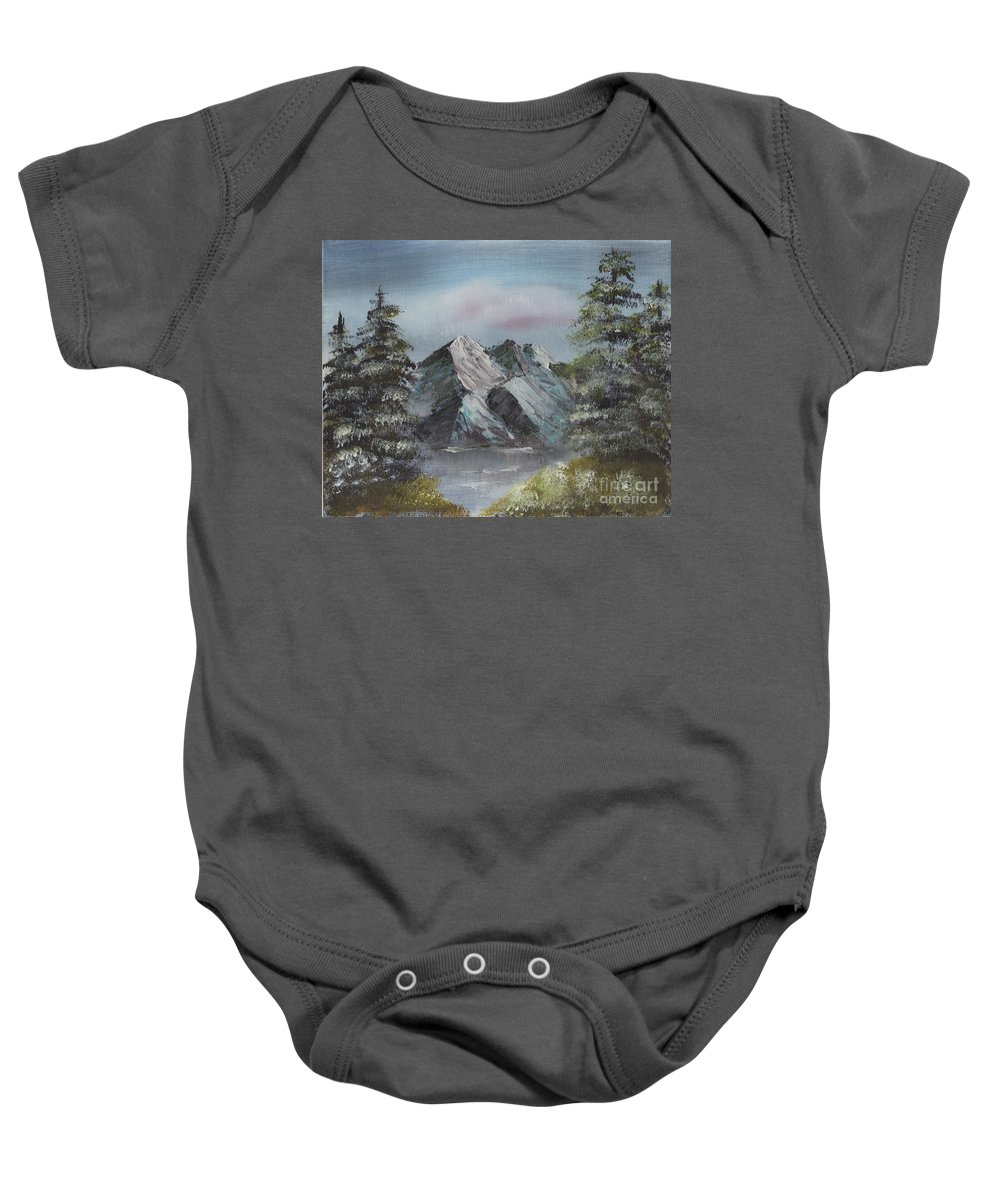 Landscape Baby Onesie featuring the painting Seclusion by Suzette Broad