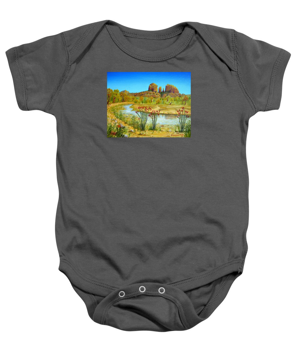 Sedona Baby Onesie featuring the painting Sedona Arizona by Jerome Stumphauzer