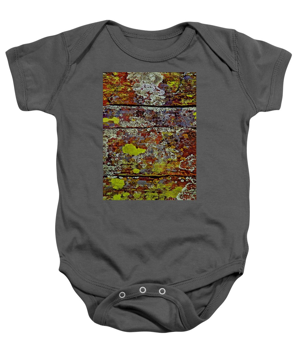 Sedona Carpet Photograph Is Of Lichen Growing On Rocks Baby Onesie featuring the photograph Sedona Carpet by Mae Wertz