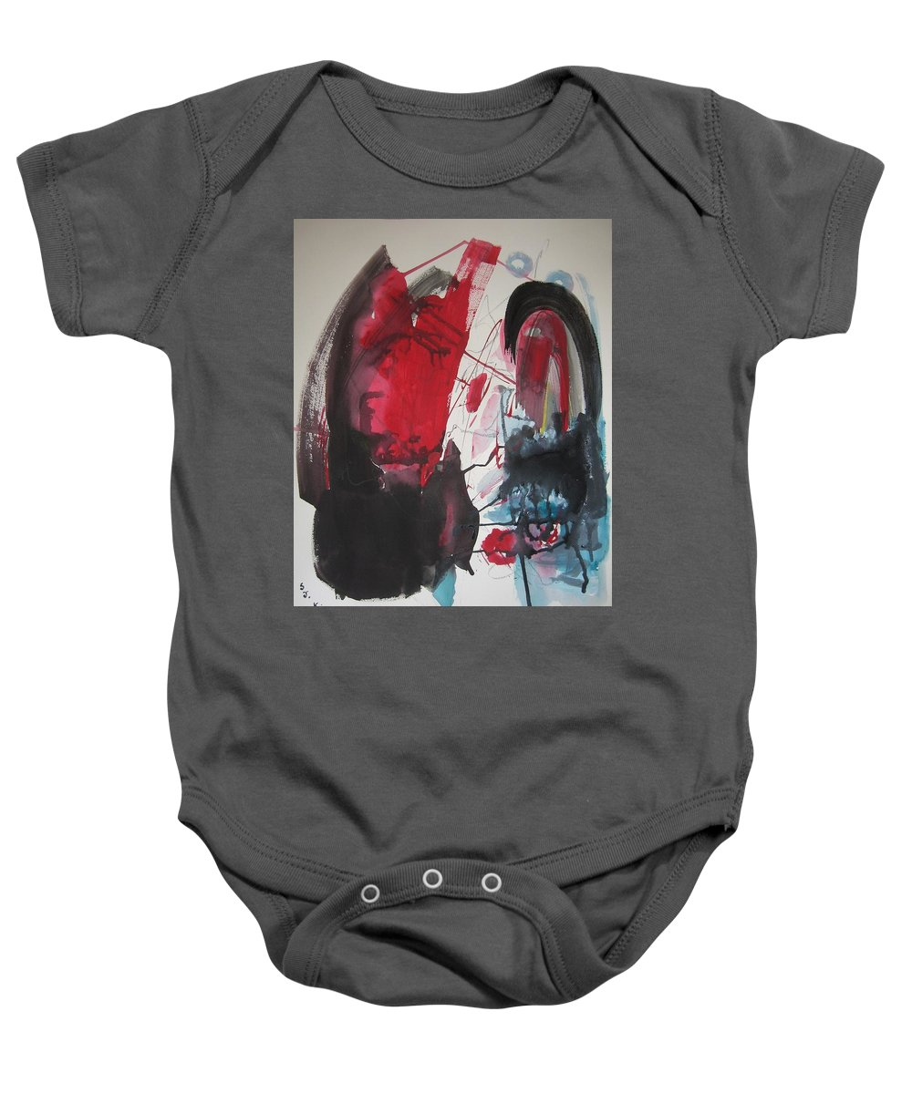 Red Paintings Baby Onesie featuring the painting Seem To Happen Suddenly Original Abstract Colorful Landscape Painting For Sale Red Blue Green by Seon-Jeong Kim