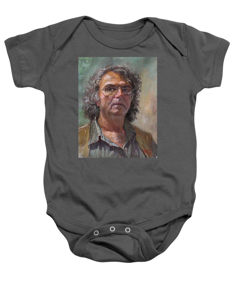 Self Portrait Baby Onesie featuring the painting Self Portrait by Ylli Haruni