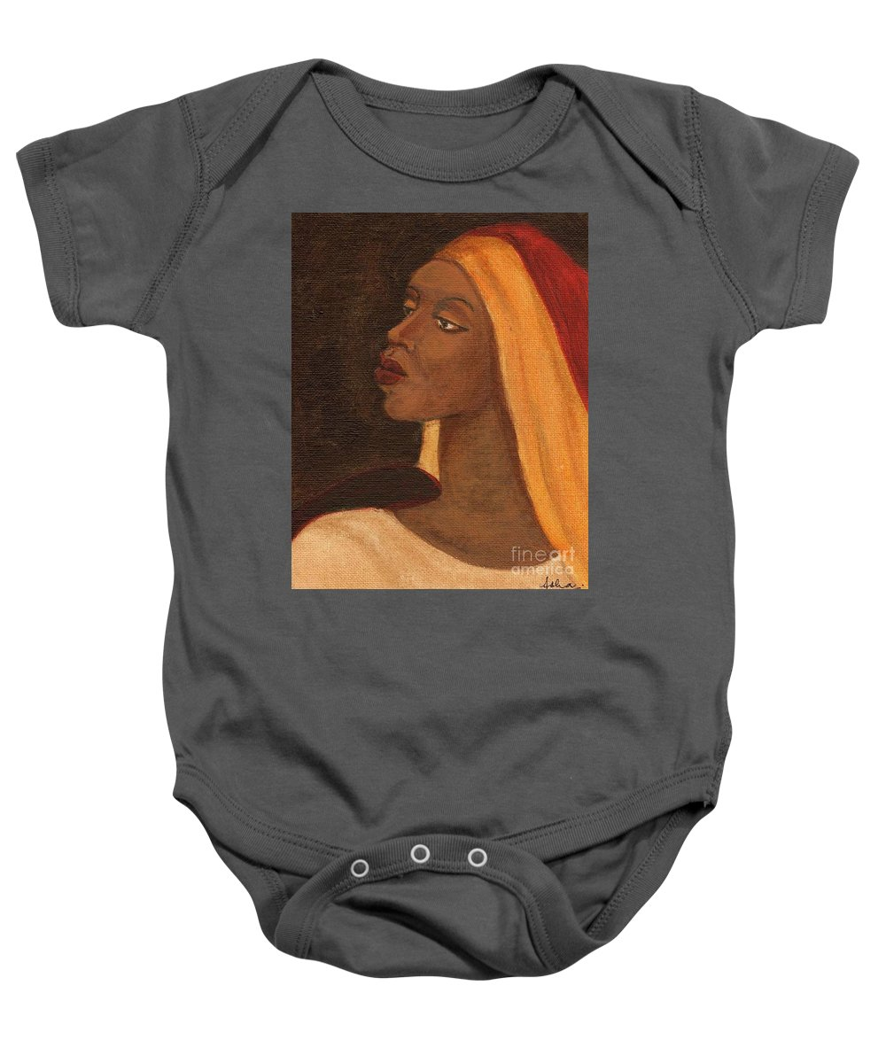 An African Woman Baby Onesie featuring the painting Semi-abstract- Woman by Asha Sudhaker Shenoy