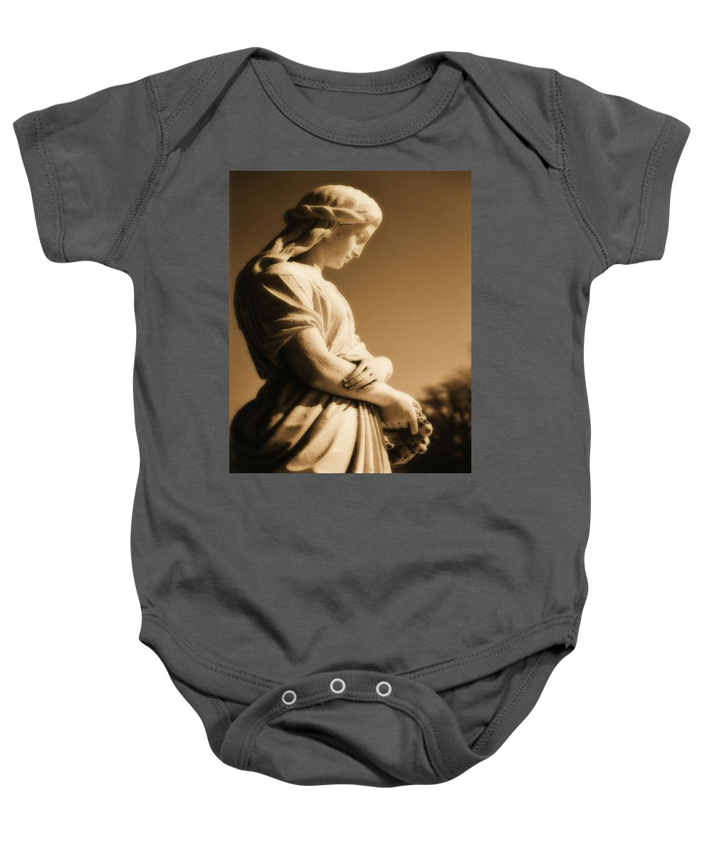 Brown Baby Onesie featuring the photograph Sepia Angel Dream by Gothicrow Images