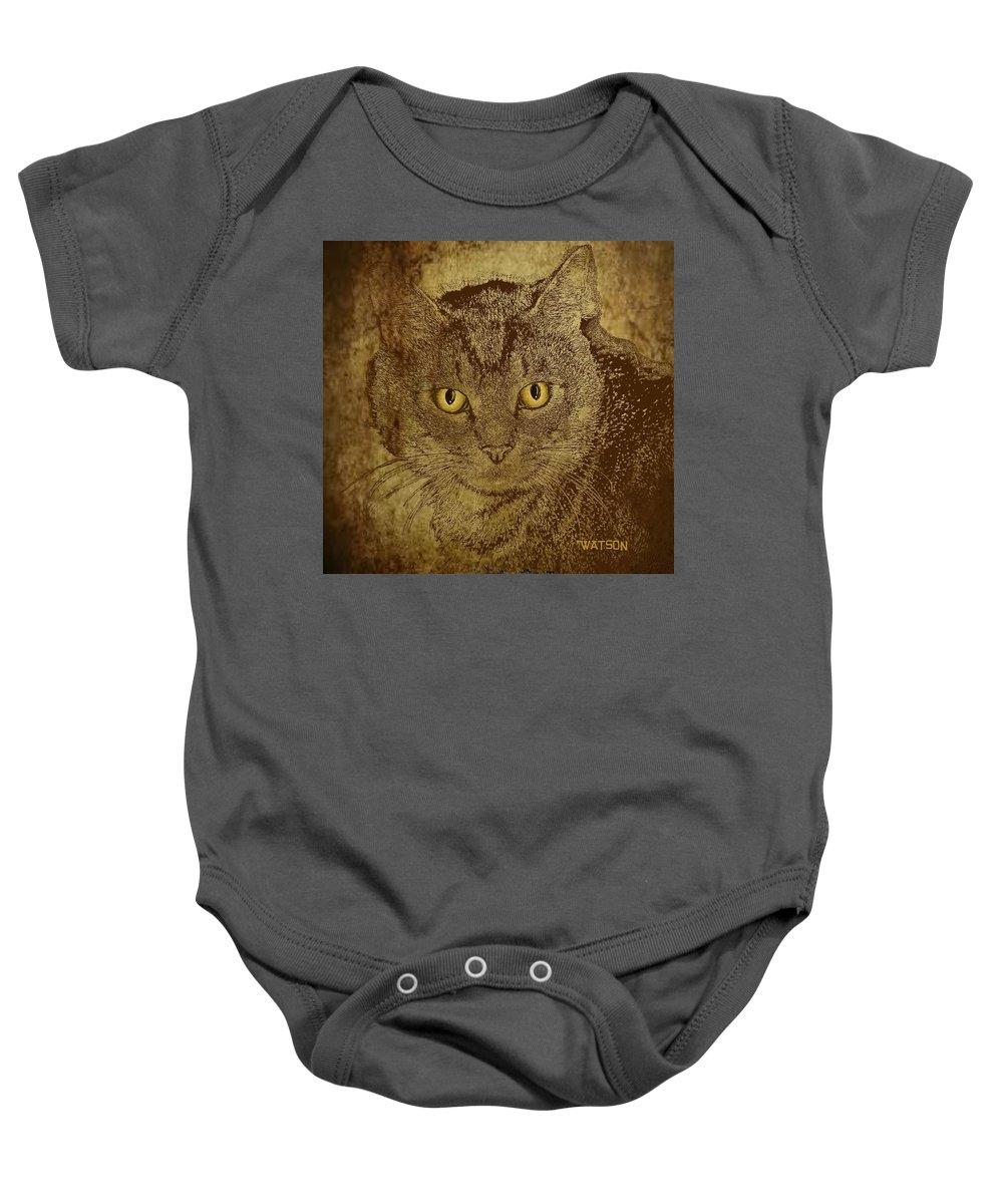 Cat Prints Baby Onesie featuring the digital art Sepia Cat by Marlene Watson