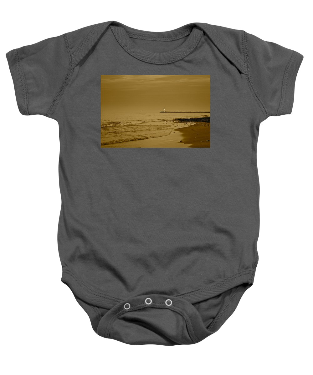 Lighthouse Baby Onesie featuring the photograph Sepia Lighthouse by Frozen in Time Fine Art Photography