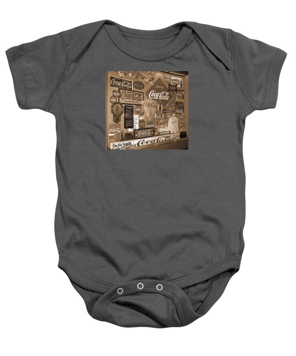 Digital Art Baby Onesie featuring the photograph Sepia Toned Signs Of Coca Cola by Marian Bell
