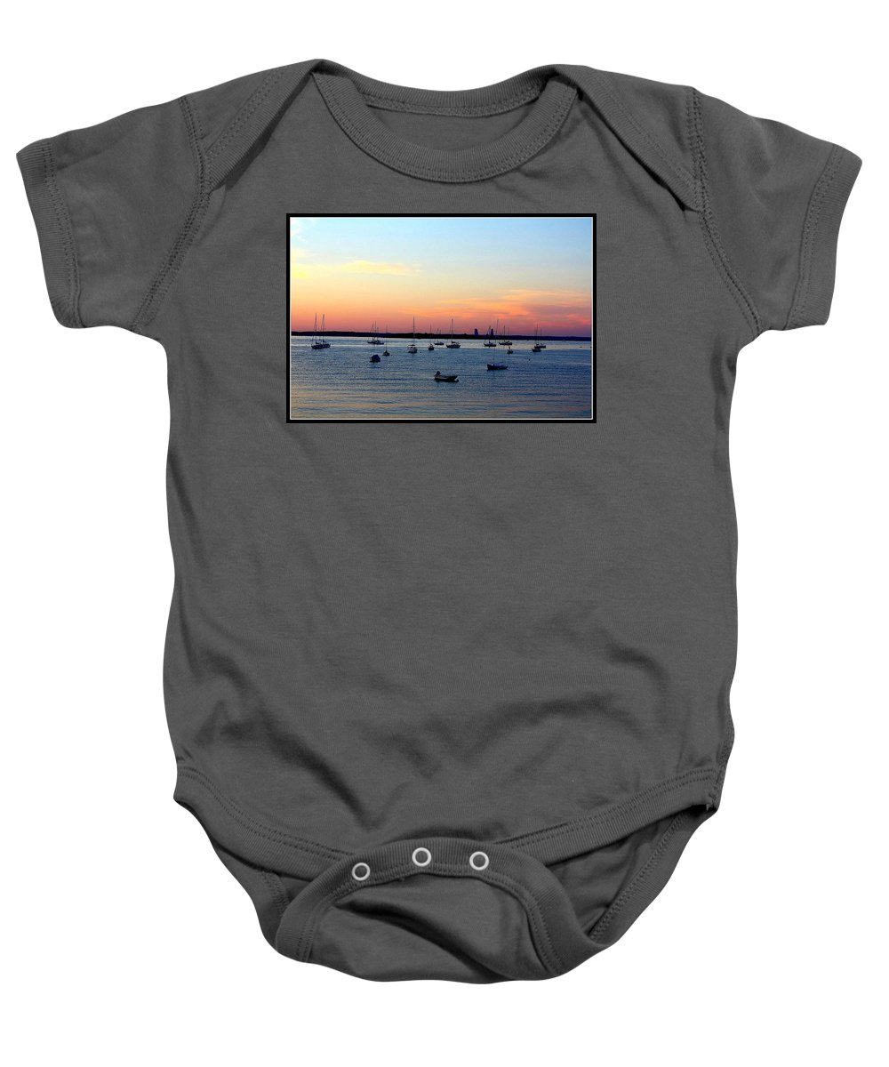 Sunsets Baby Onesie featuring the photograph Serenity At The Bay by Dora Sofia Caputo Photographic Design and Fine Art