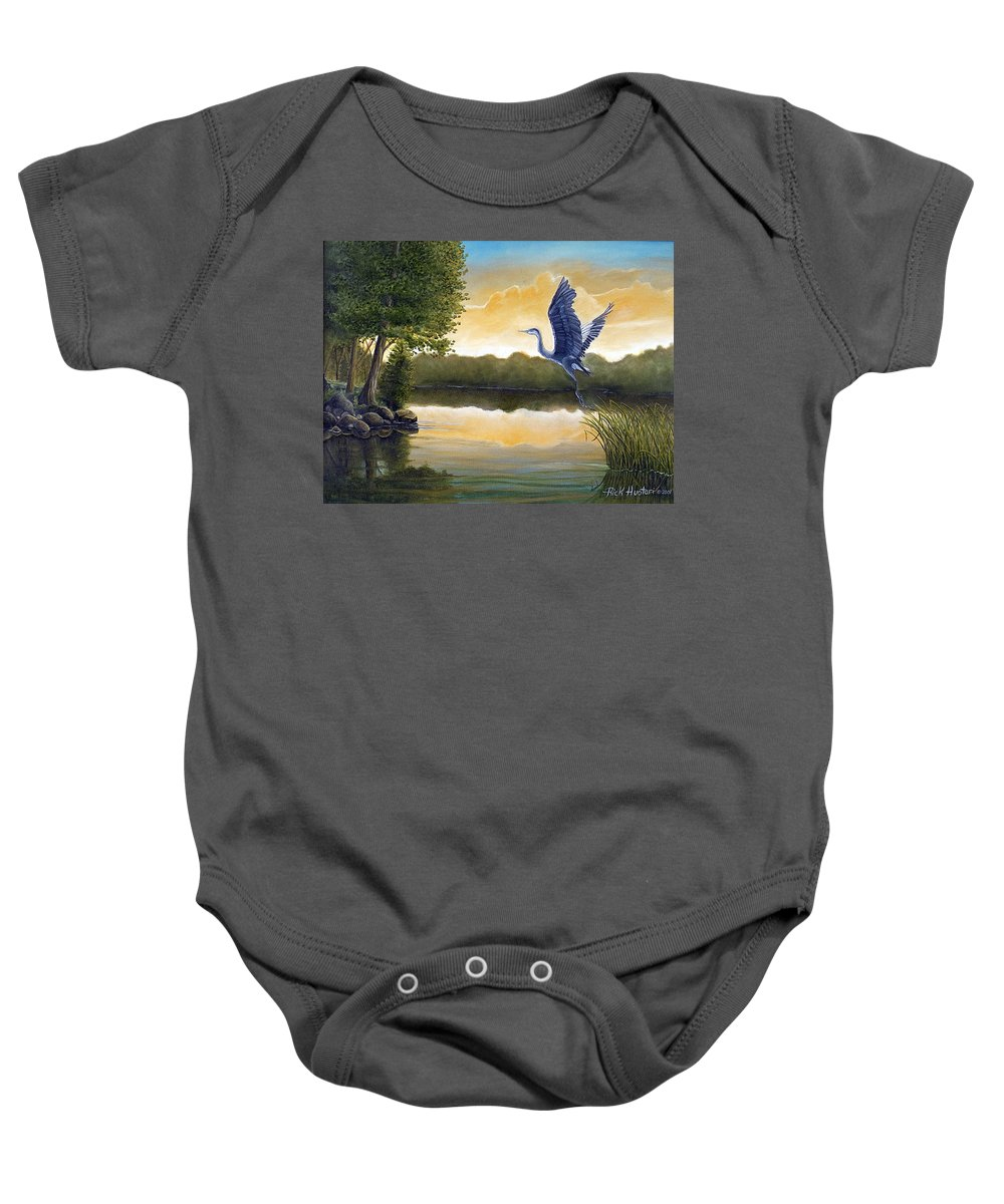 Rick Huotari Baby Onesie featuring the painting Serenity by Rick Huotari