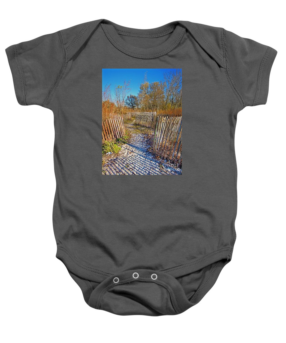 Festblues Baby Onesie featuring the photograph Serenity Trail.... by Nina Stavlund