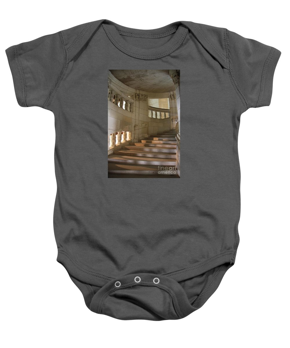 Staircase Baby Onesie featuring the photograph Shadows On Chateau Chambord Stairs by Christiane Schulze Art And Photography