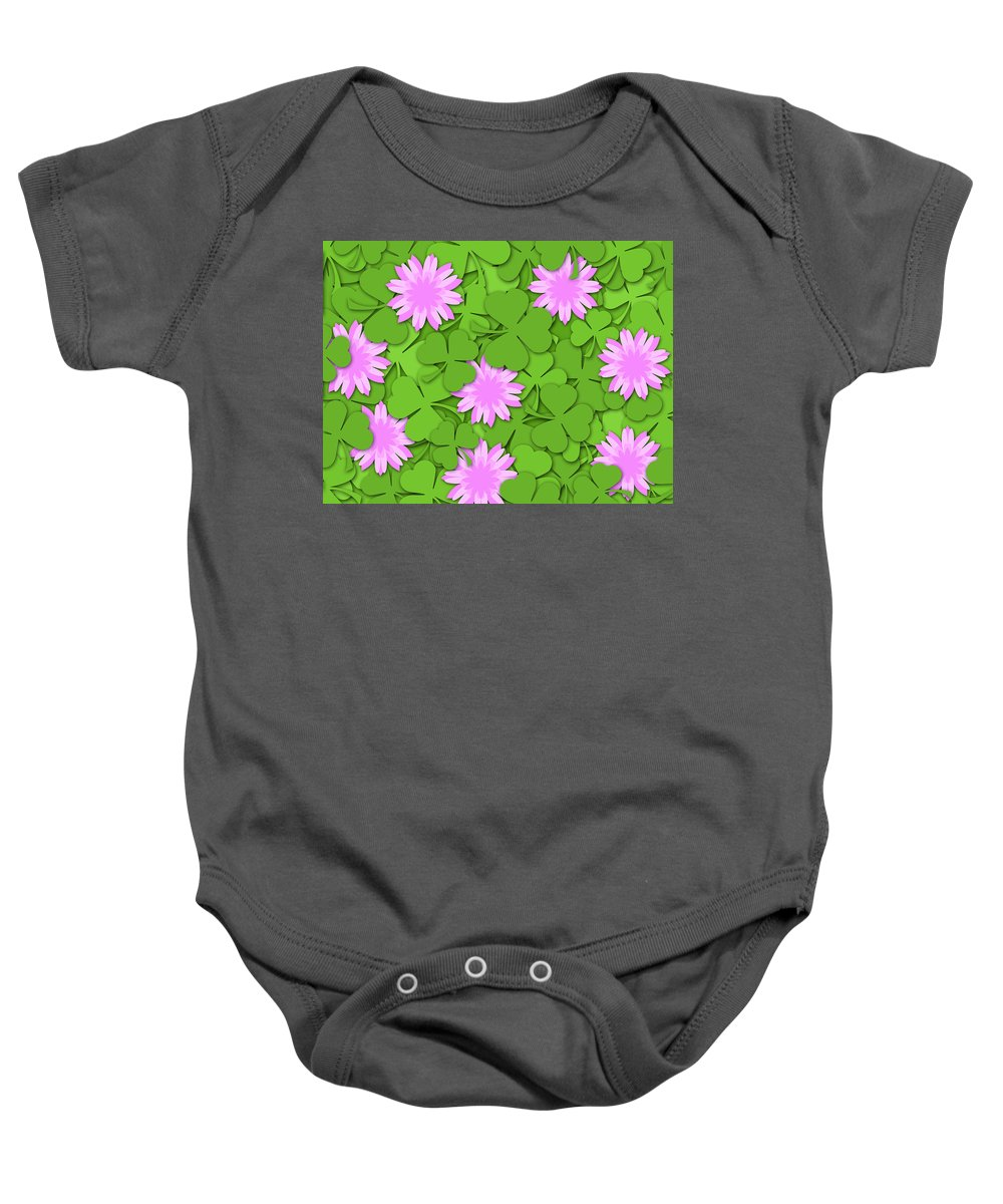 Shamrock Baby Onesie featuring the photograph Shamrock Paper Cutting Clover Flowers Background by David Gn