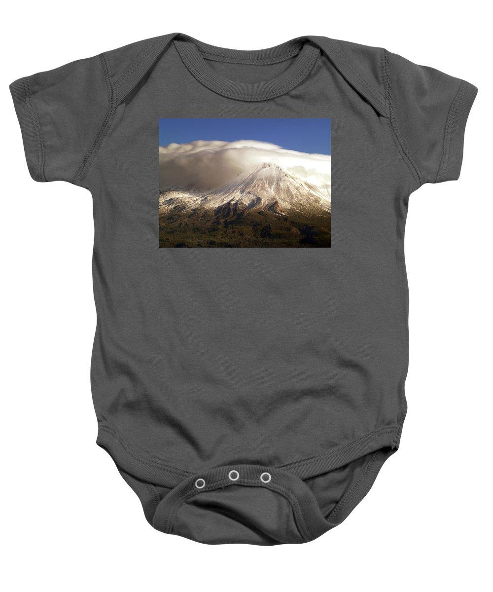 Mt Shasta Baby Onesie featuring the photograph Shasta Storm by Bill Gallagher