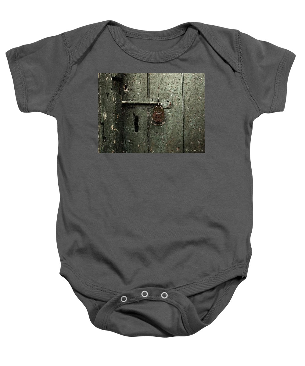 Door Baby Onesie featuring the painting Shed Of Secrets by RC DeWinter