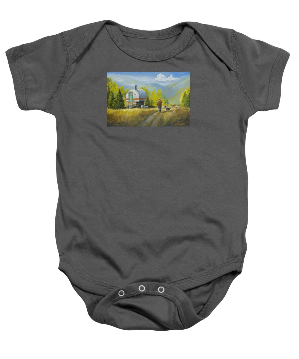Sheep Baby Onesie featuring the painting Sheep Camp by Jerry McElroy