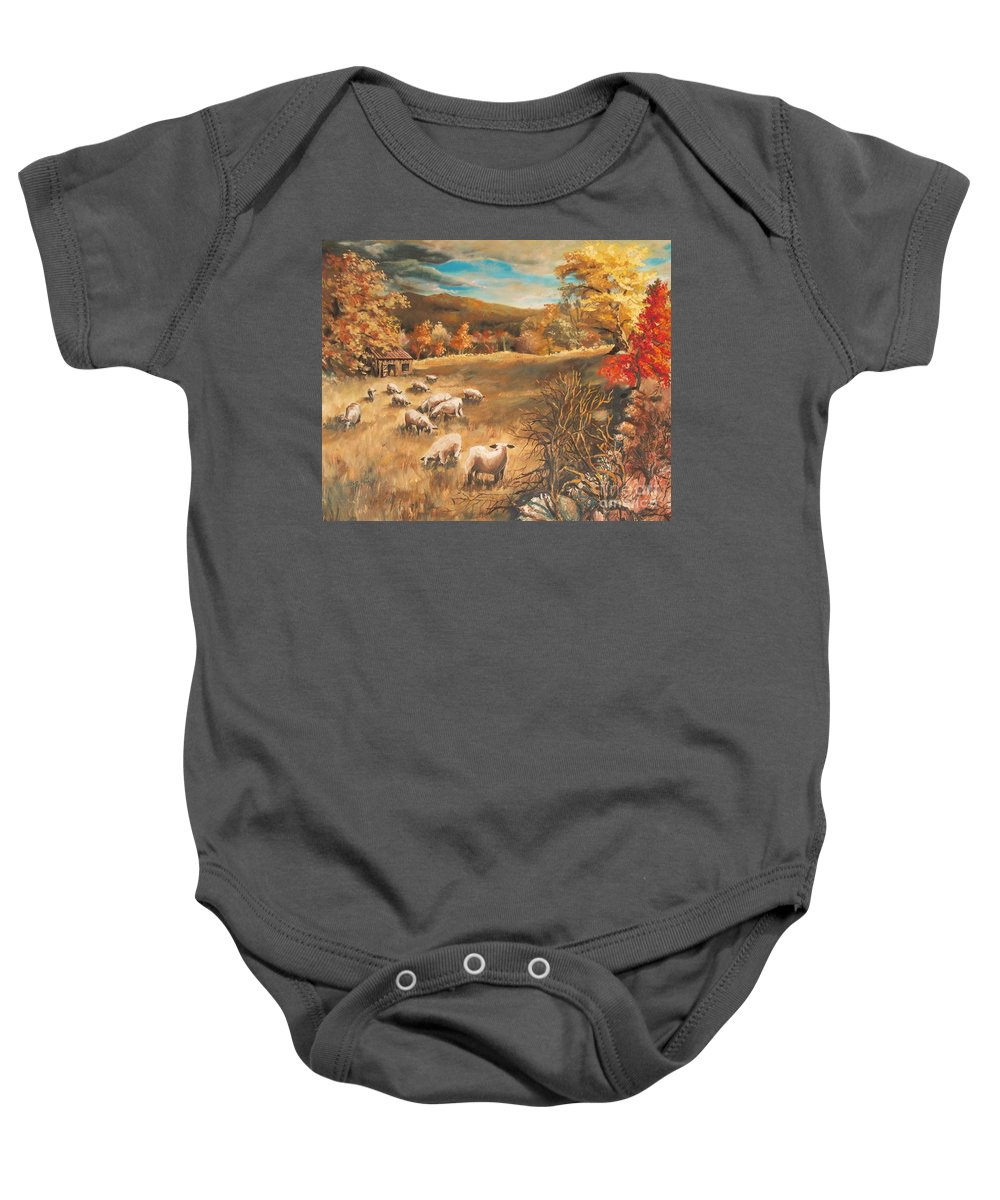 Oil Painting Baby Onesie featuring the painting Sheep In October's Field by Joy Nichols
