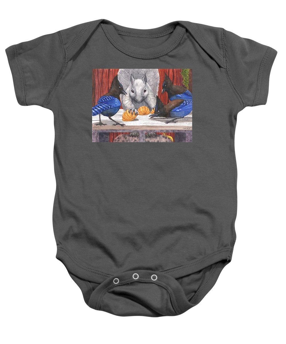 Squirrel Baby Onesie featuring the painting Shell Game by Catherine G McElroy