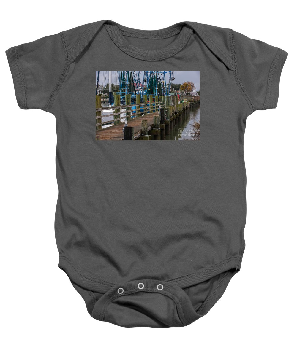 Shem Cree Baby Onesie featuring the photograph Shem Creek Wharf by Dale Powell