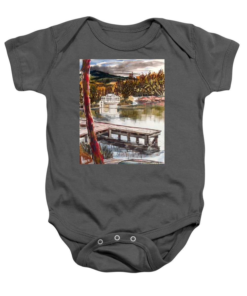 Shepherd Mountain Lake In Twilight Baby Onesie featuring the painting Shepherd Mountain Lake In Twilight by Kip DeVore