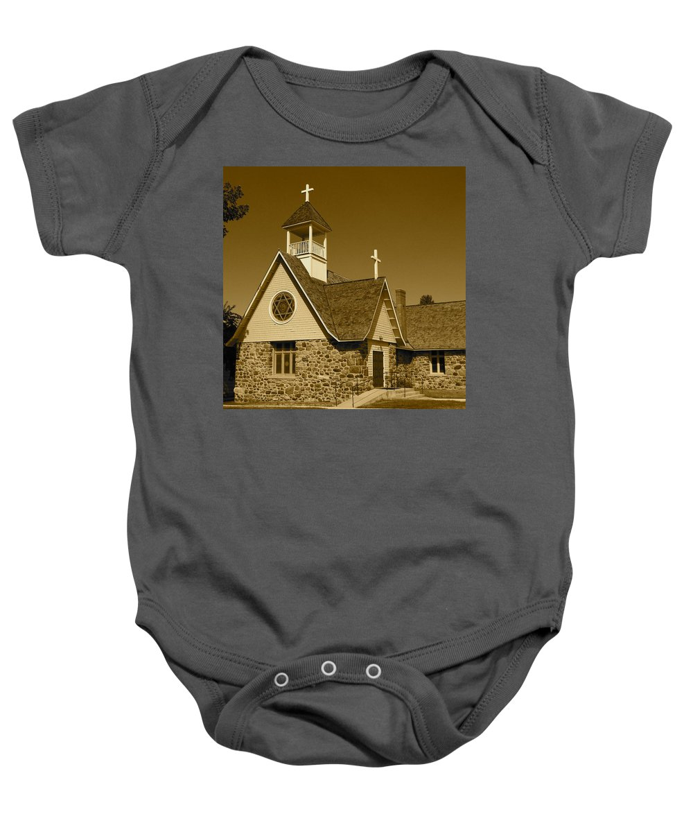 Stone Church Baby Onesie featuring the photograph Sheridan Episcopal by Jim Cotton