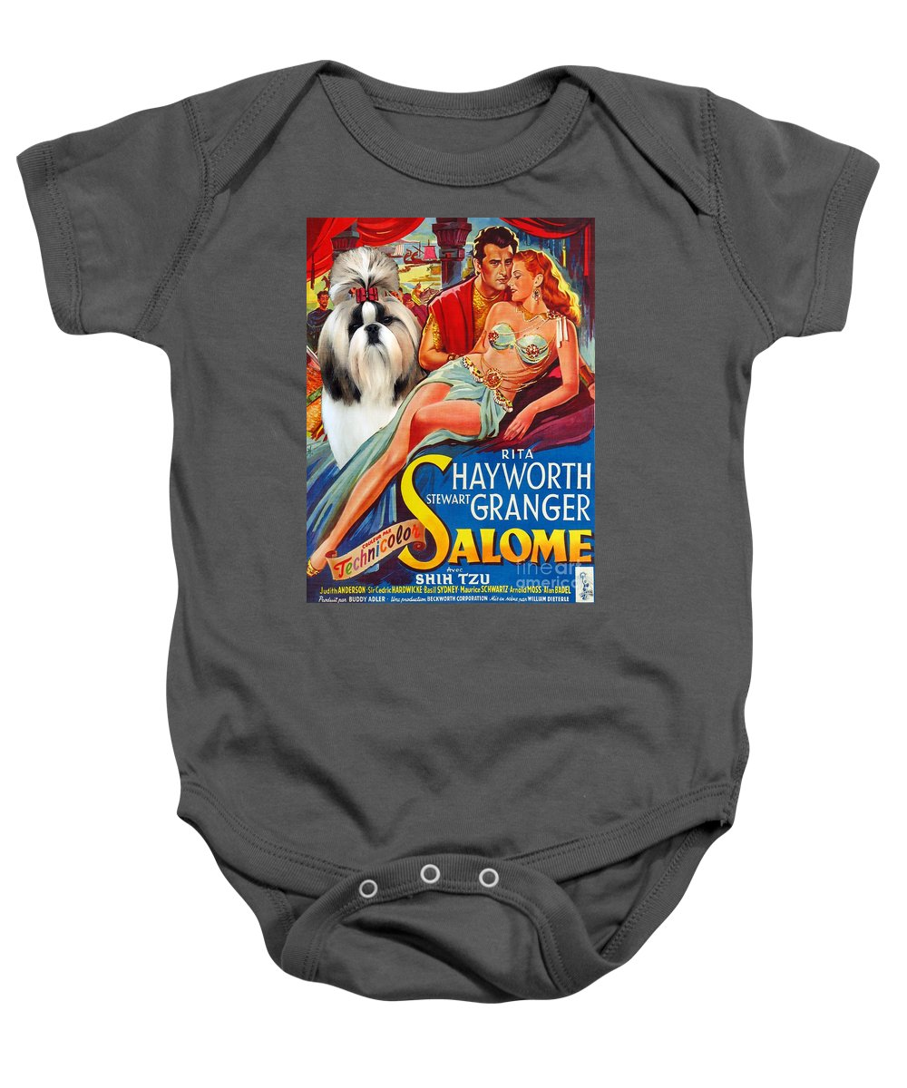 Dog Baby Onesie featuring the painting Shih Tzu Art - Salome Movie Poster by Sandra Sij