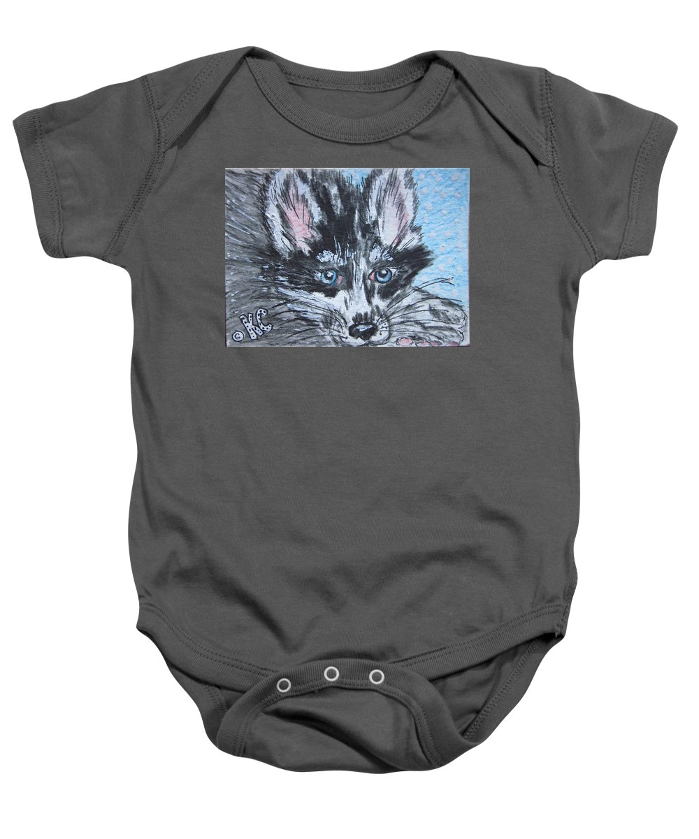 Siberian Husky Baby Onesie featuring the painting Siberian Husky by Kathy Marrs Chandler