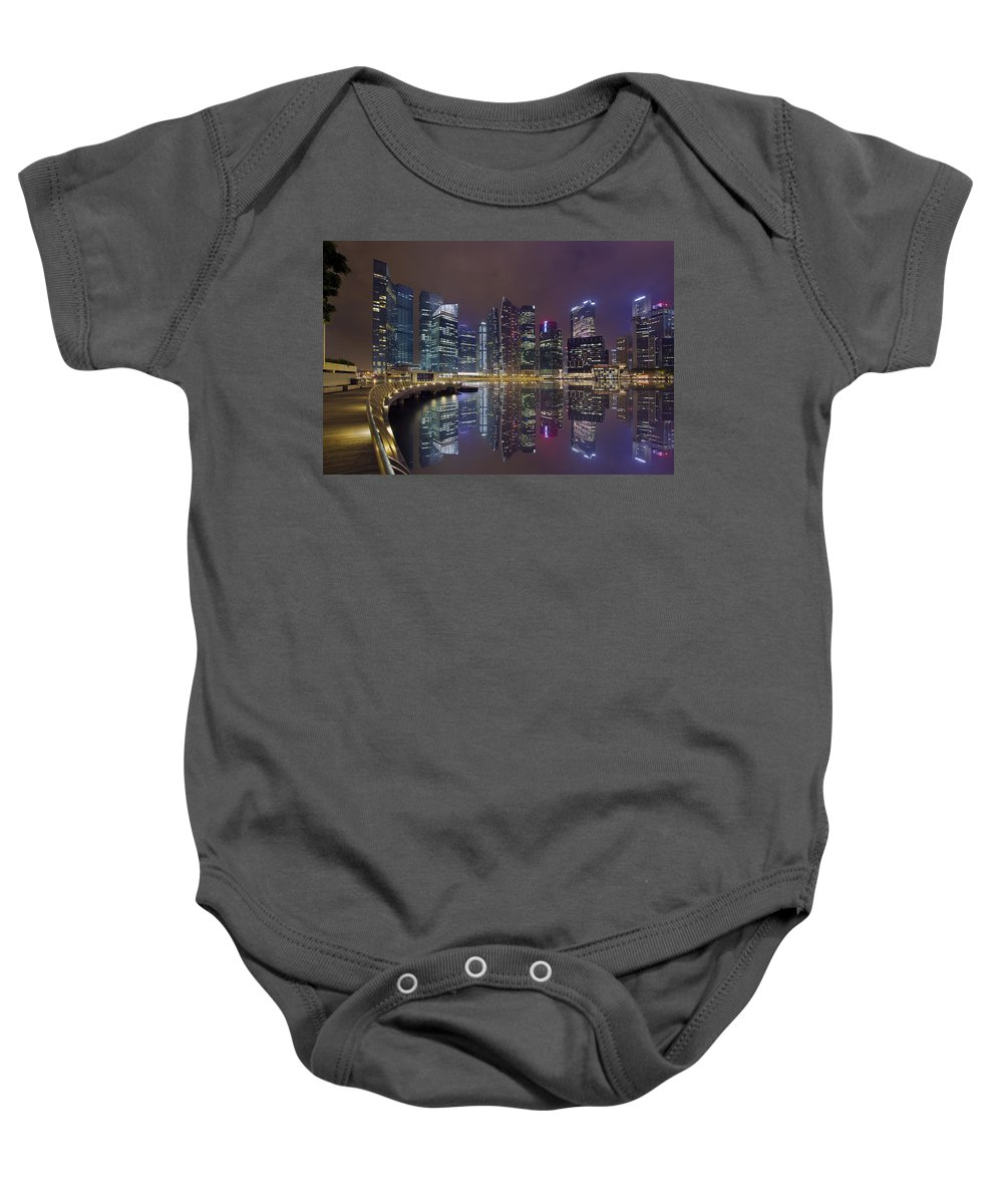 Singapore Baby Onesie featuring the photograph Singapore City Skyline Along Marina Bay Boardwalk At Night by Jit Lim