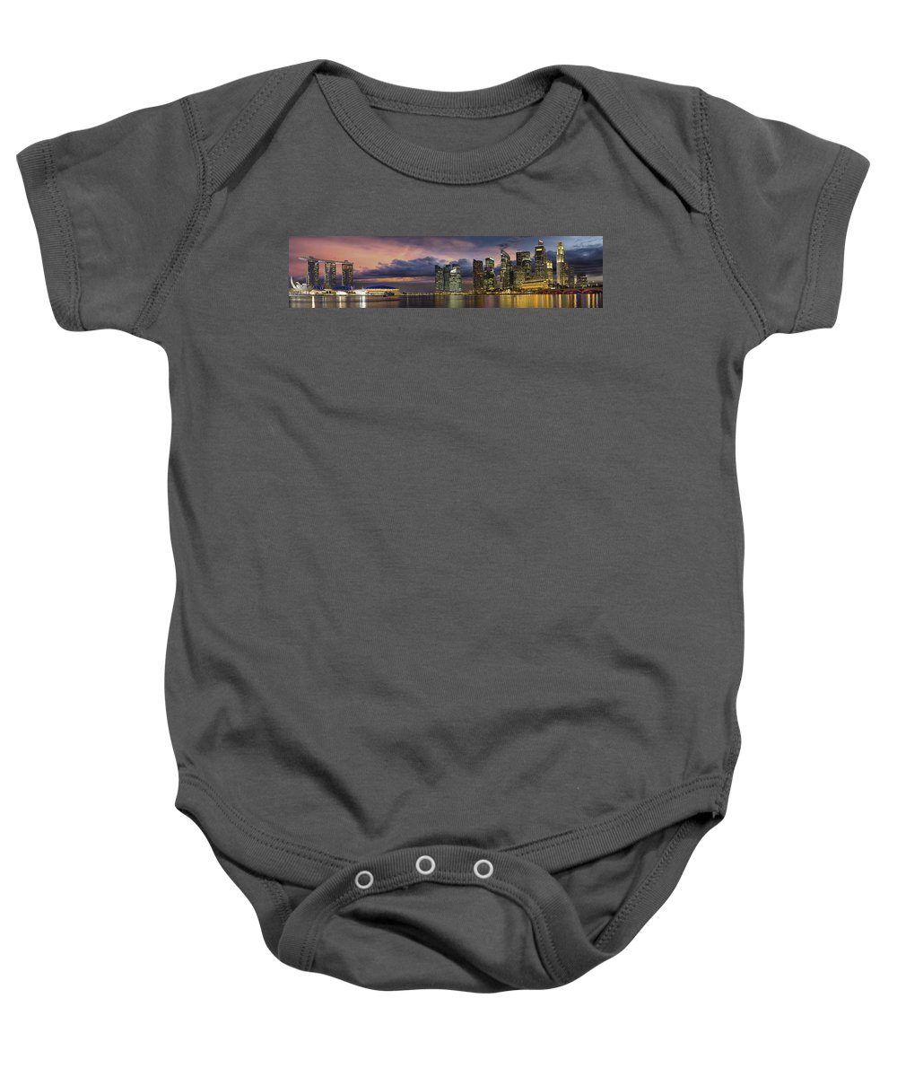Singapore Baby Onesie featuring the photograph Singapore City Skyline At Sunset Panorama by Jit Lim